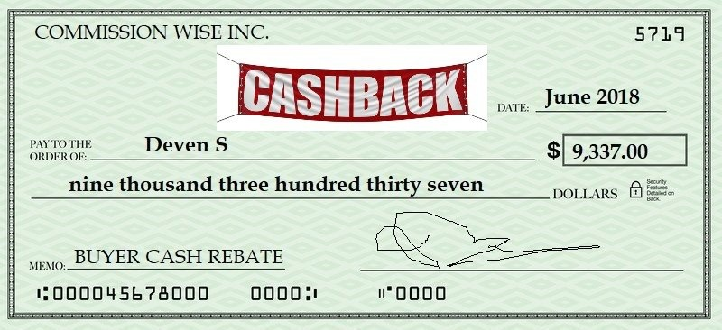 real estate buyer cash rebate cheque